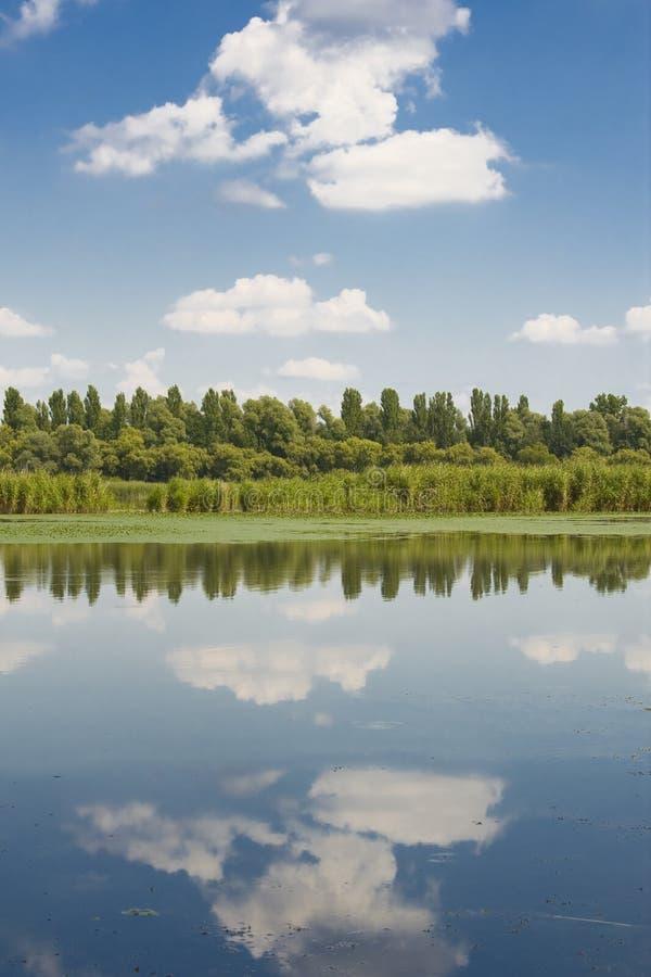 Himmel reflekterad på vattnet arkivfoto
