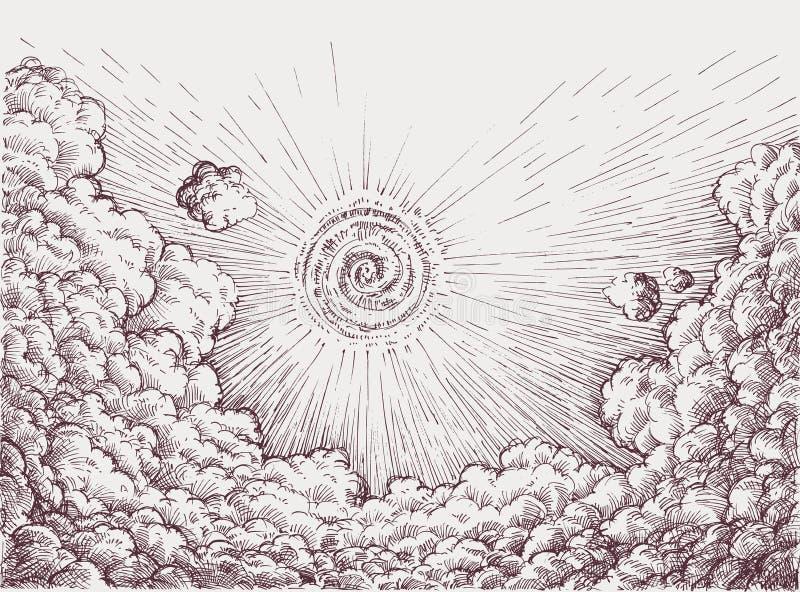 Himmel som drar retro stil royaltyfri illustrationer