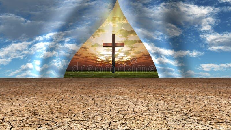 Himmel som ifrån varandra dras för att avslöja korset och stället bortom vektor illustrationer