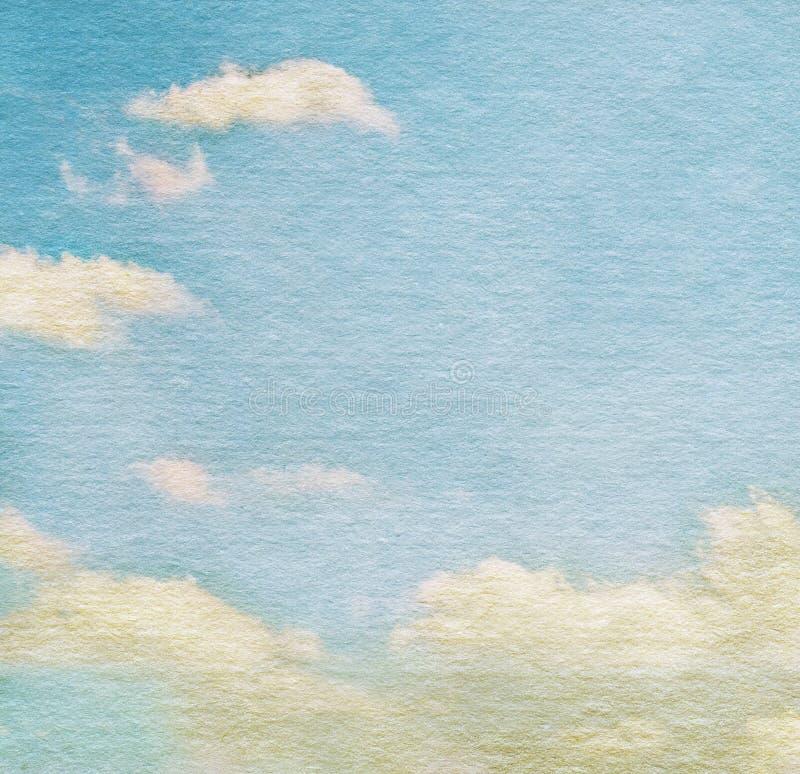 Himmel und Wolken auf Aquarellhintergrund stockbilder