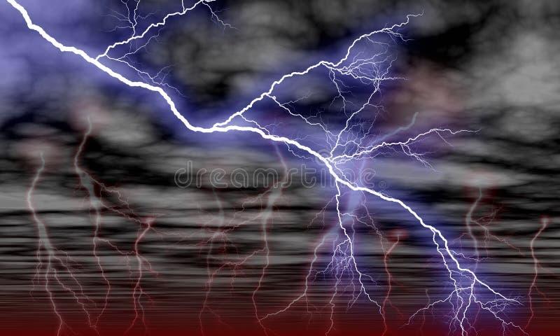 Himmel-Wolken und Sturm-Blitz vektor abbildung