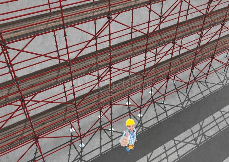 Himmelansicht des Baugerüsts 3D neben dem glücklichen Erbauer, der seine Hand anhebt lizenzfreie abbildung