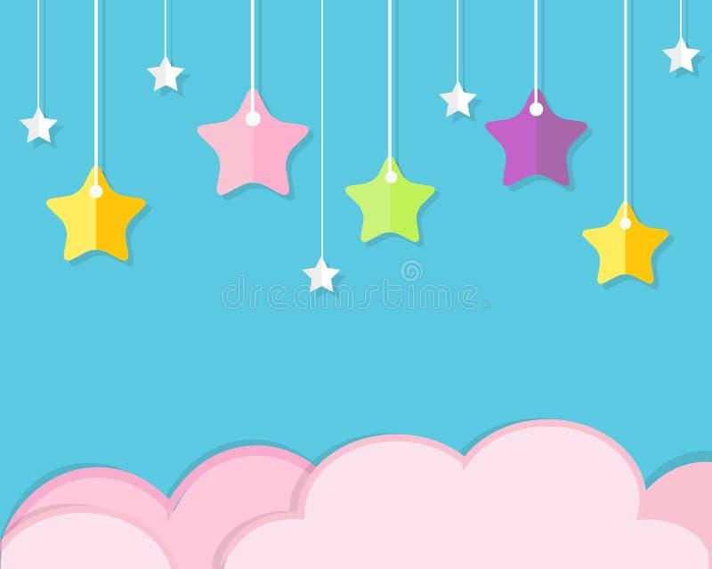 Himmelbakgrund med rosa färgmoln och färgrika hängande stjärnor Bakgrund i papperssnittet, stil för pappers- hantverk För behandl royaltyfri illustrationer