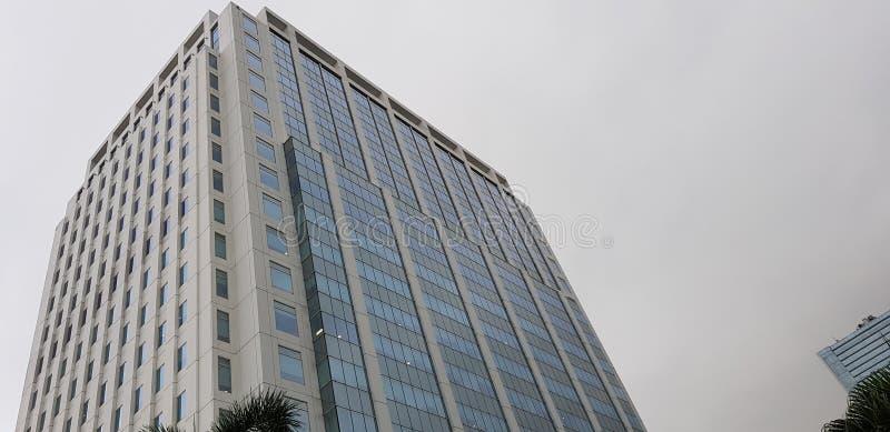 Himmelbyggnad med en klar sikt och omge också med blåa Windows royaltyfri fotografi