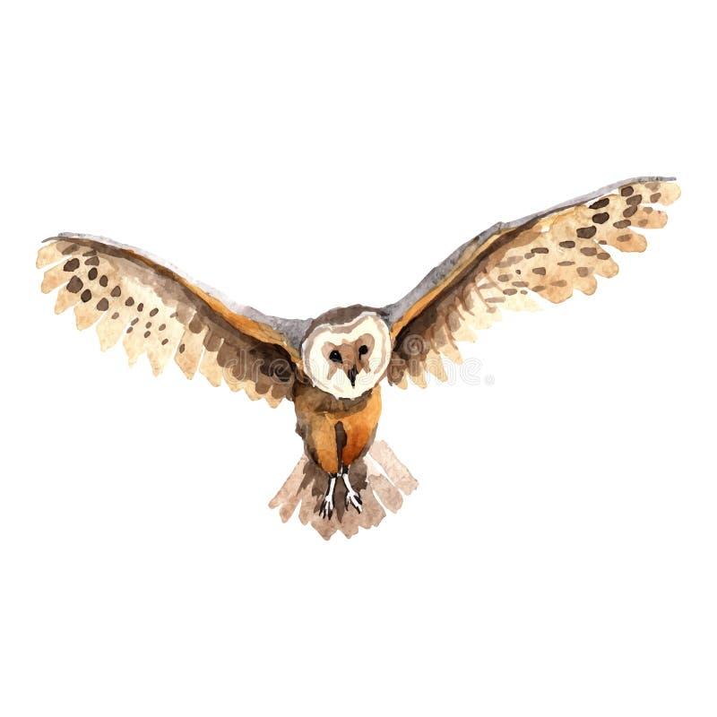 Himmelfågeluggla i ett isolerat djurliv vid vektorstil stock illustrationer