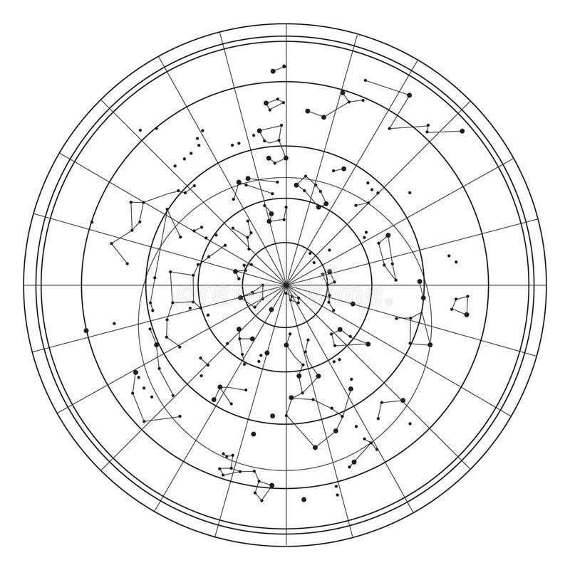 Himmelkarte mit Sternen und Konstellationen stock abbildung