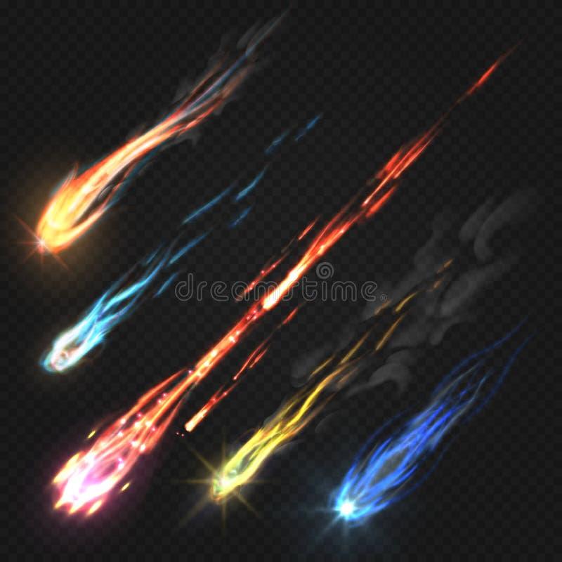 Himmelkomet och meteorit, raketslingor som isoleras på mörk genomskinlig bakgrund royaltyfri illustrationer