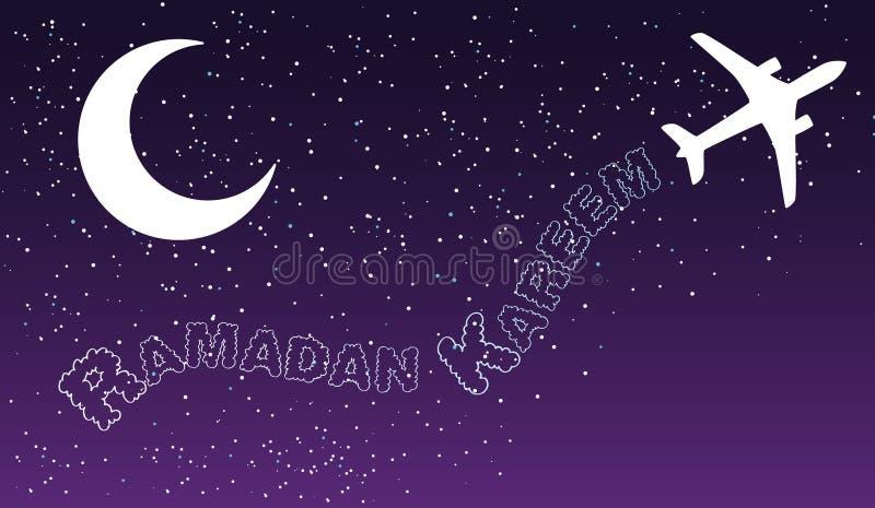 Himmelnachtflugzeugverkehr bewölkt Ramadan-kareem islamischen Grußentwurf stock abbildung
