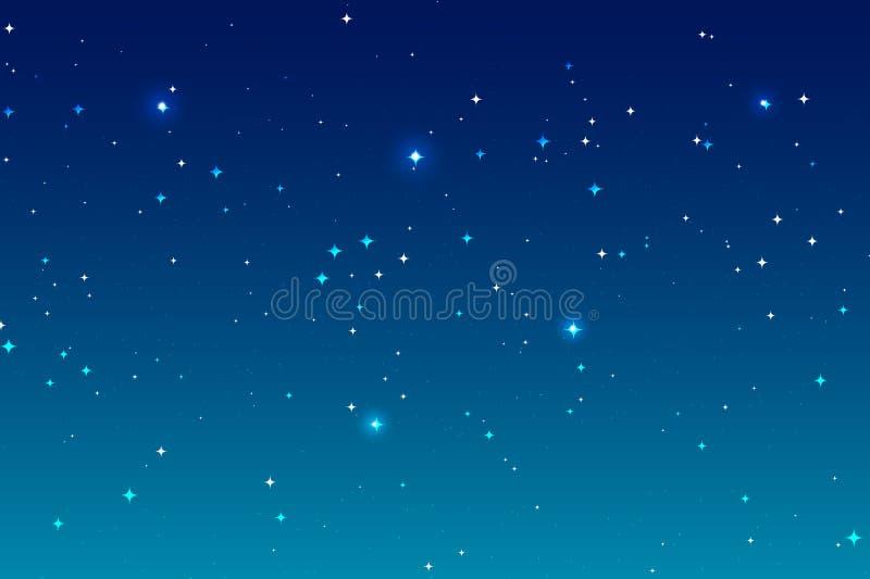 Himmelnattbakgrund och många stjärnor Blått landskap för djupt utrymme royaltyfri illustrationer