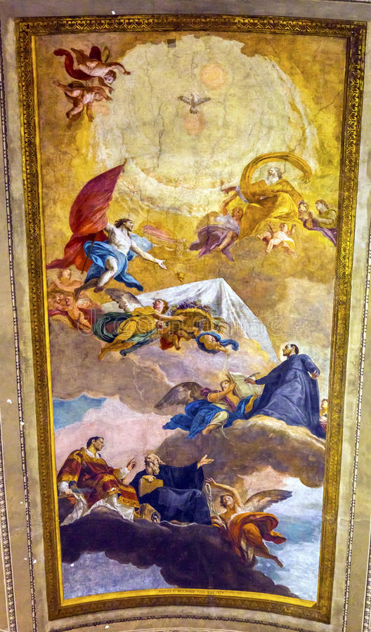 Himmels-Fresko-Decke Vincenzo Anastasio Church Rome Italy lizenzfreie stockfotos