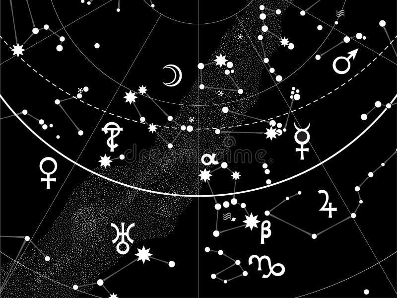 himmelsk astronomical kartbok stock illustrationer