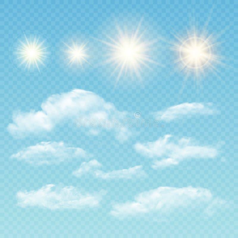 Himmelskapare Fastställda realistiska moln och sol vektor royaltyfri illustrationer