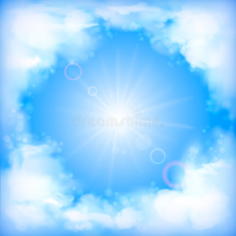 Himmelvektorentwurf, weiße Wolken, Sonne, Unschärfe stock abbildung