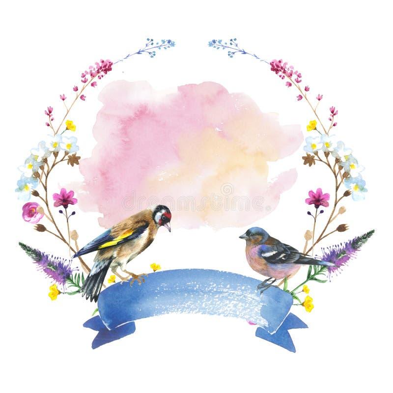 Himmelvogelspatz in einem Kranz der wild lebenden Tiere durch Aquarellart lokalisiert stock abbildung