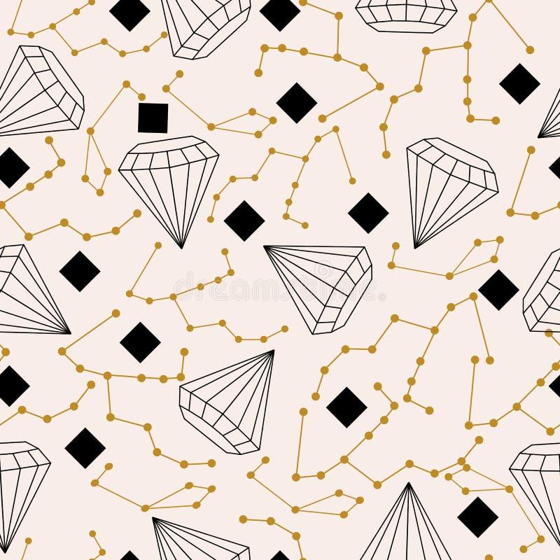 Himmlische Elemente und Diamanten, in einem nahtlosen Musterentwurf vektor abbildung