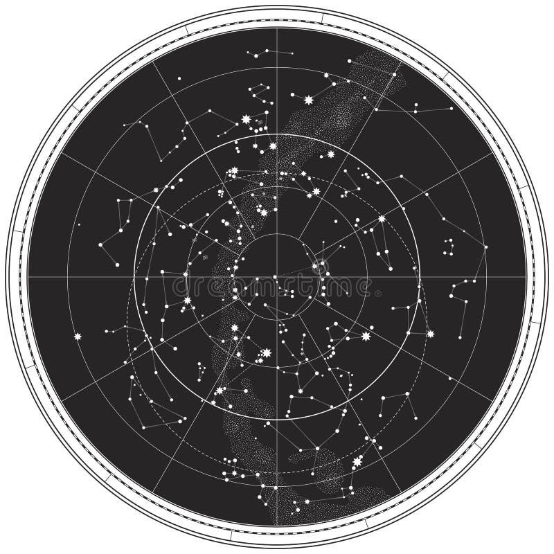 Himmlische Karte des nächtlichen Himmels lizenzfreie abbildung