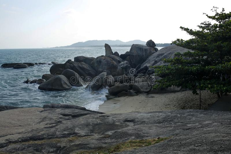 Grandfather and Grandmother rocks in Koh Samui, Thailand royalty free stock photography