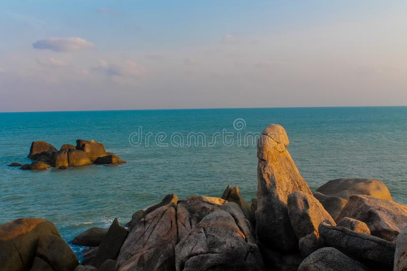 Hin Ta and Hin Yai Rocks in Koh Samui, Lamai Beach. Grandmother and Grandfather Rocks at Koh Samui royalty free stock photo