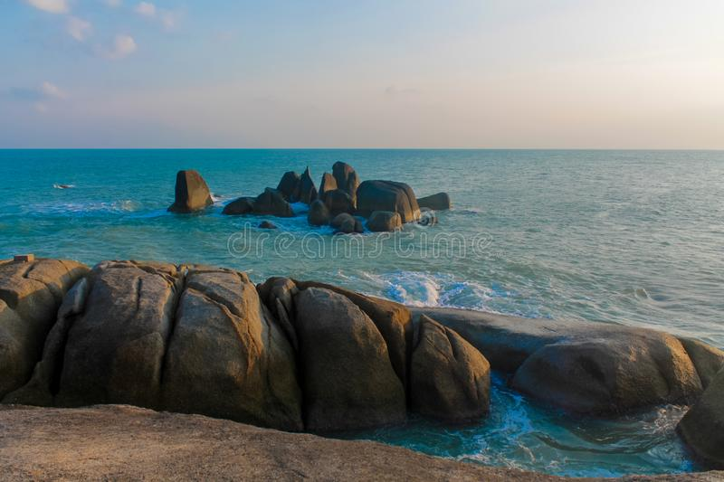 Hin Ta and Hin Yai Rocks in Koh Samui, Lamai Beach. Grandmother and Grandfather Rocks at Koh Samui, Thailand royalty free stock photography