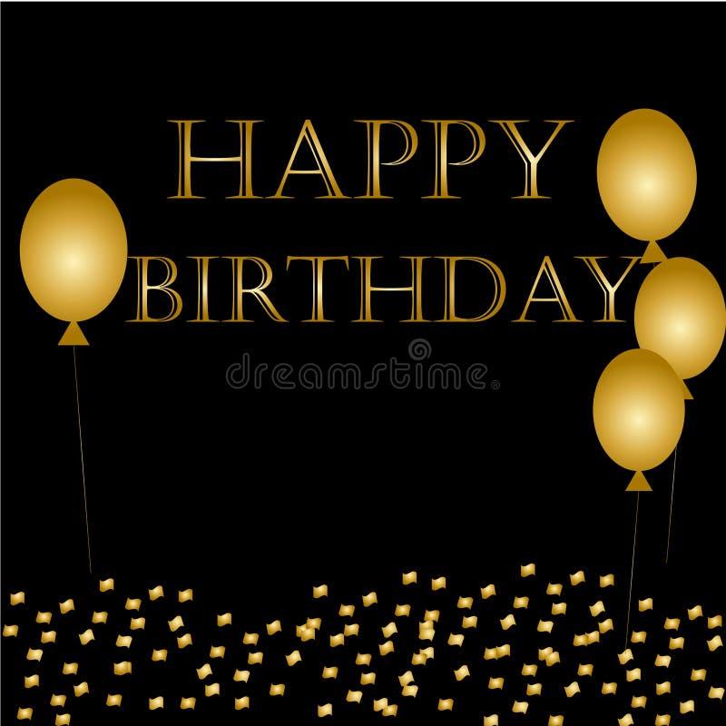 Hincha feliz cumpleaños en negro Fondo del día de fiesta de las chispas del globo del oro libre illustration