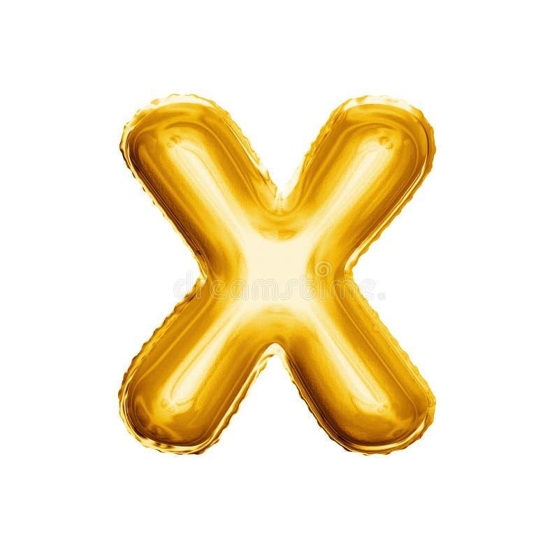 Hinche el alfabeto realista de la hoja de oro 3D de la letra X fotos de archivo