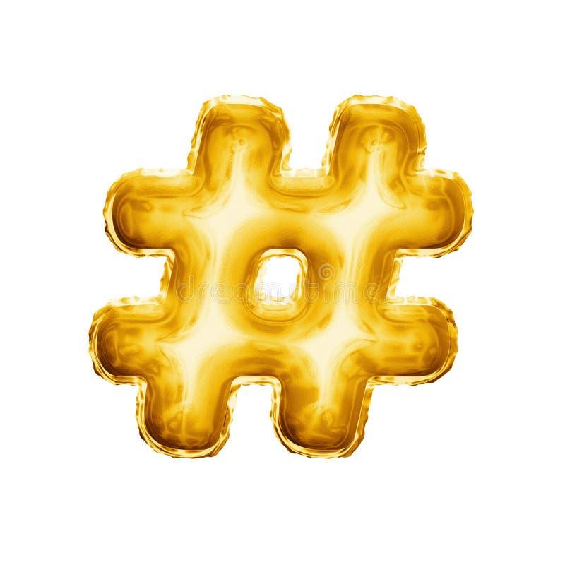 Hinche el alfabeto realista de la hoja de oro del símbolo 3D de la muestra de número del hashtag foto de archivo libre de regalías