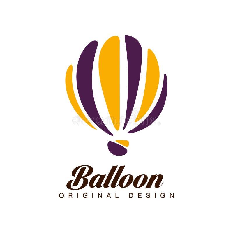 Hinche el diseño original, insignia crerative con el globo del aire caliente puede ser utilizado para la identidad de marca corpo libre illustration