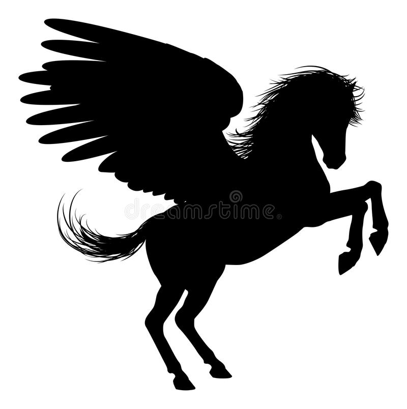 Hind Legs Pegasus Silhouette illustration stock