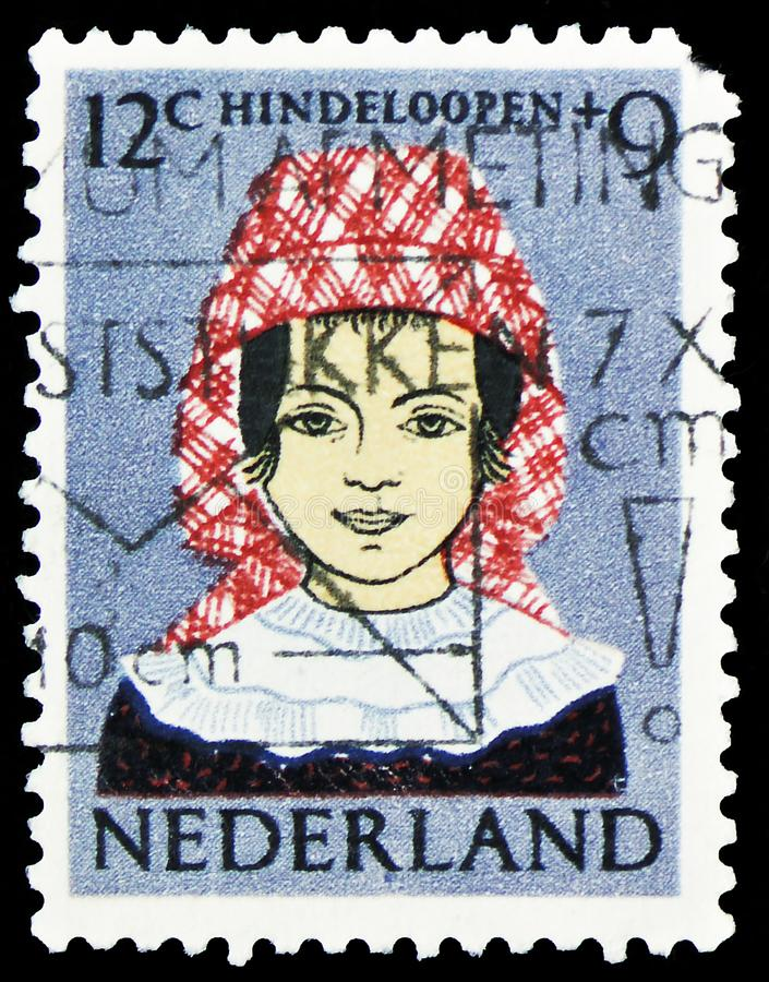 Hindeloopen costume, Children Stamps serie, circa 1960 stock images