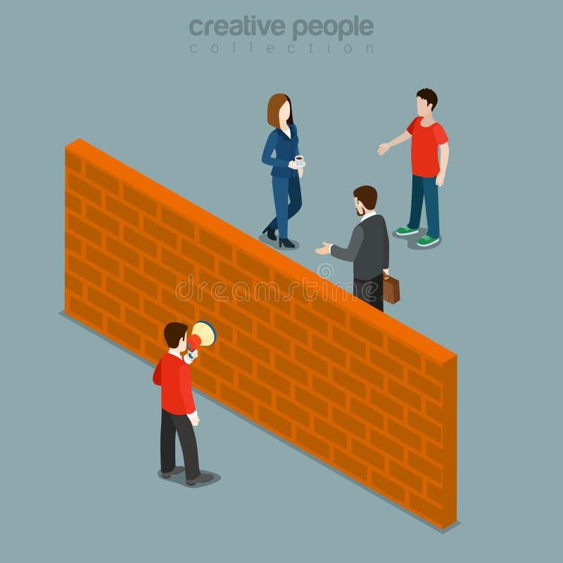 Hindernis tussen klant en PR die vlakke isometrische vector op de markt brengen royalty-vrije illustratie