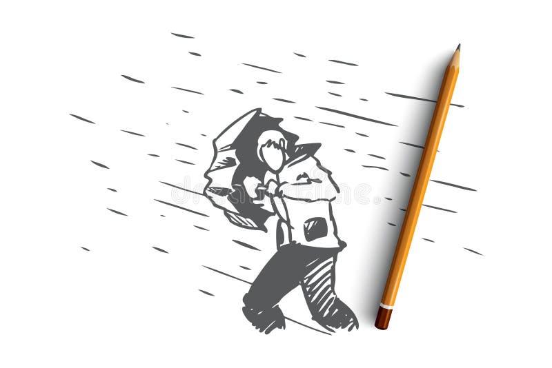 Hindernissen, moeilijkheden, problemenconcept Hand getrokken geïsoleerde vector royalty-vrije illustratie