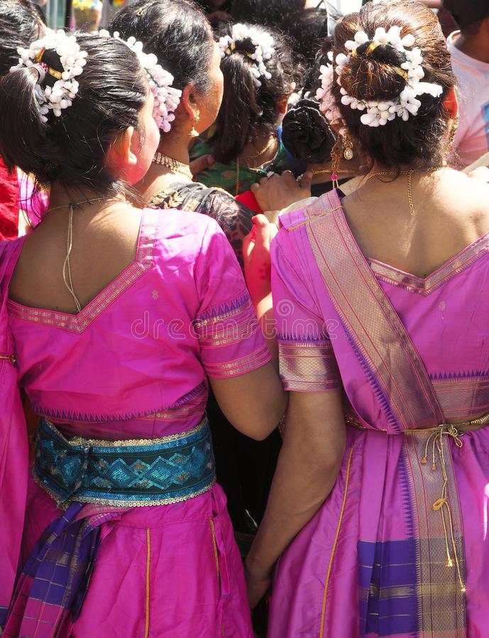 Hindi Dancers Wait to take to the stage stock photos