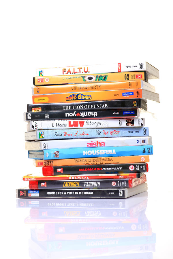 Hindi movies dvd's royalty free stock image