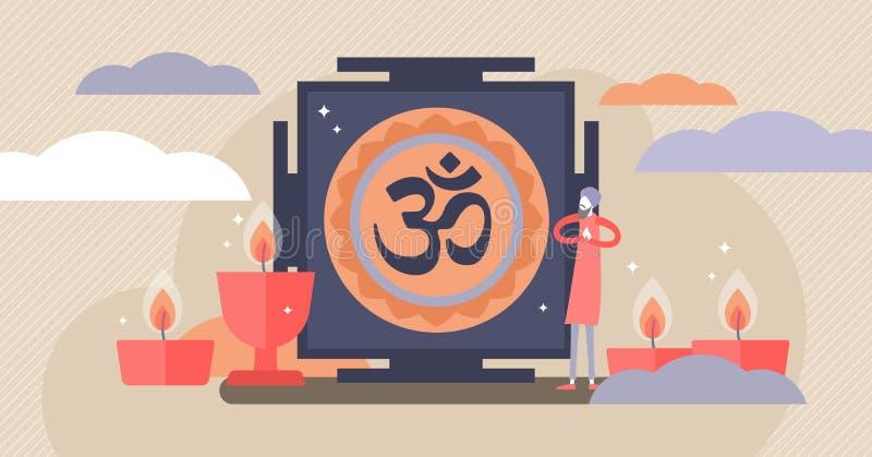 Hindoeïsme vectorillustratie Vlak uiterst klein Indisch de personenconcept van de godsgodsdienst royalty-vrije illustratie