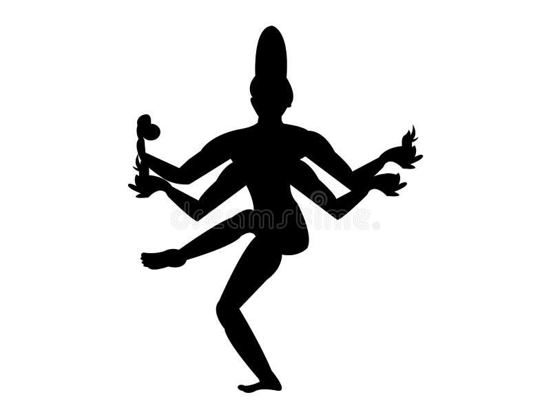 Hindoes de dansensilhouet van godsshiva vector illustratie