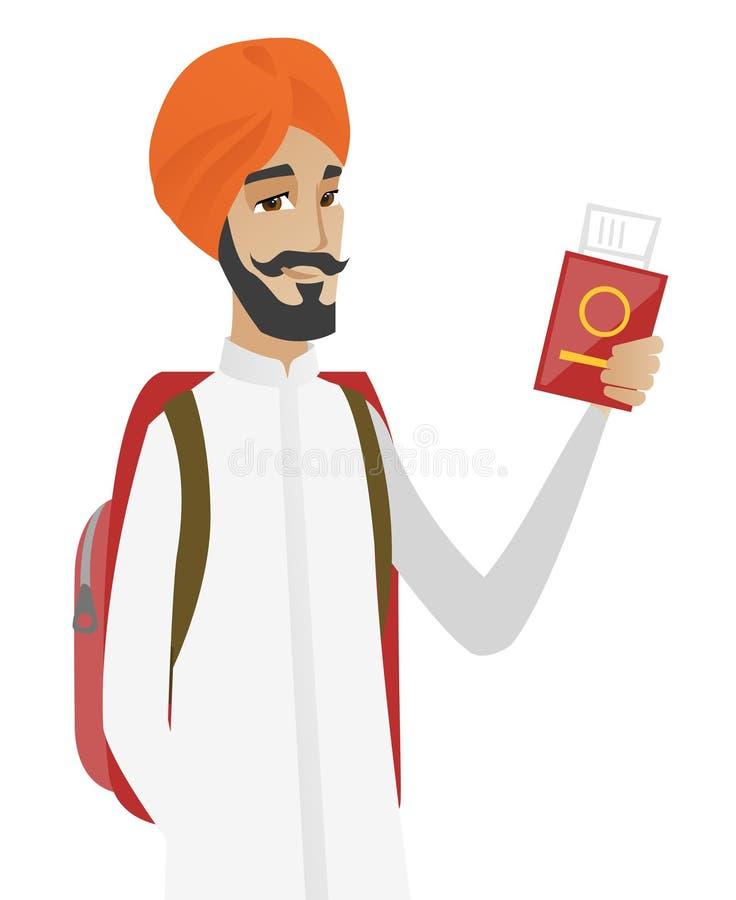 Hindoes de holdingspaspoort van de mensenreiziger met kaartje royalty-vrije illustratie