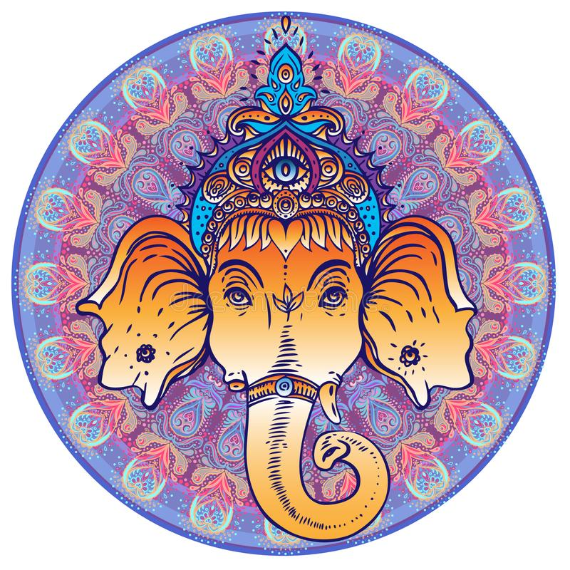 Hindoes Lord Ganesha over overladen kleurrijke mandala Vectorillustra stock illustratie