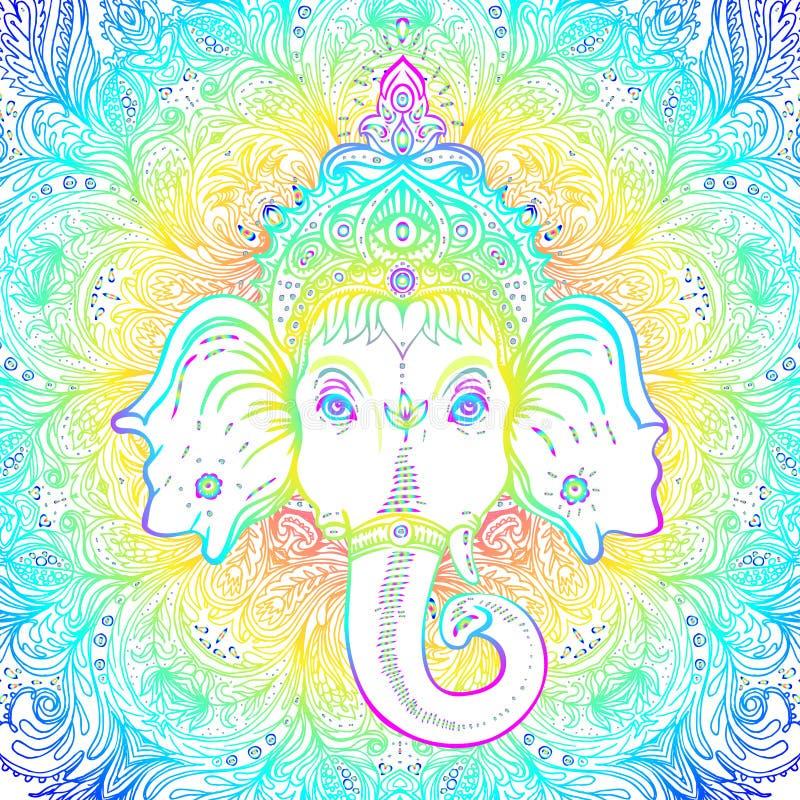Hindoes Lord Ganesha over overladen mandalapatroon Vector illustrat stock illustratie