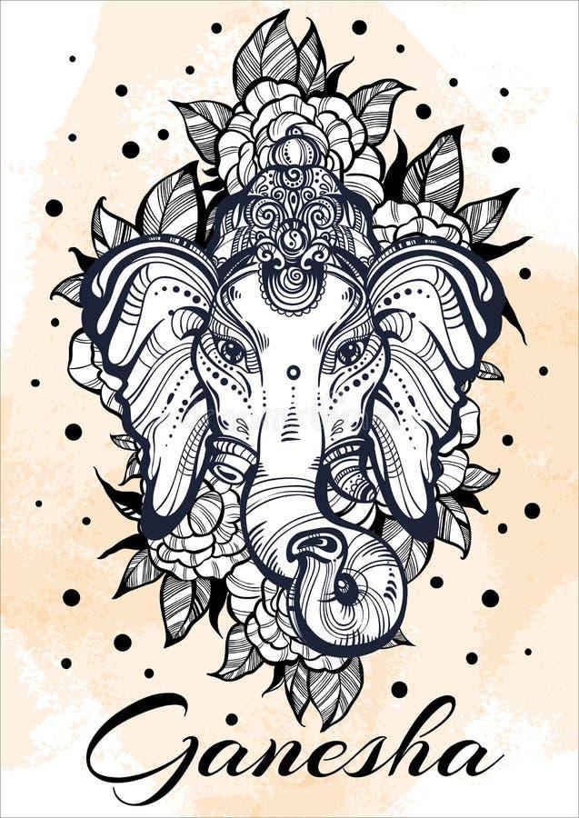 Hindoes Lord Ganesha over waterverfachtergrond De mooie pioen bloeit aroud Hoog-High-detailed vectorillustratie, tatoegeringskuns stock illustratie