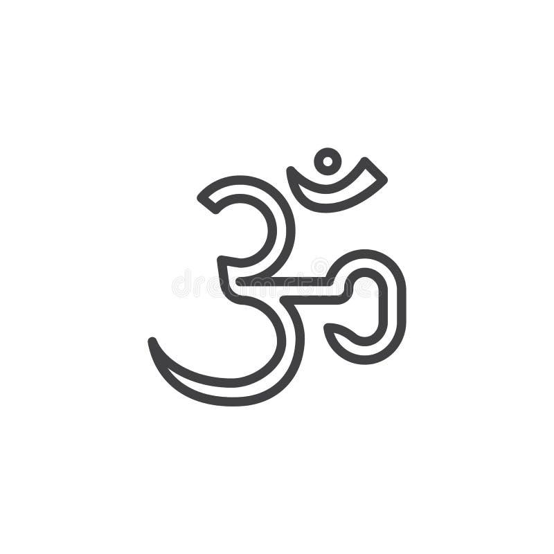 Hindoes Om Aum lijnpictogram royalty-vrije illustratie