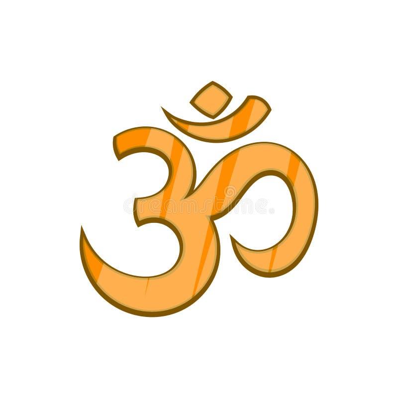 Hindoes Om symboolpictogram in beeldverhaalstijl vector illustratie