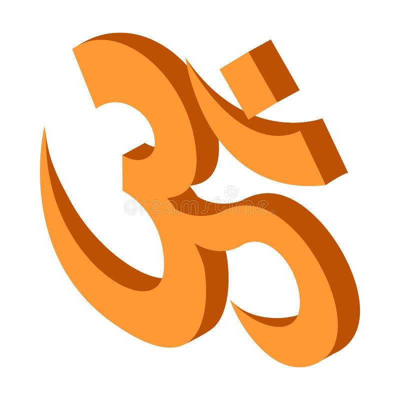 Hindoes om symboolpictogram, isometrische 3d stijl royalty-vrije illustratie