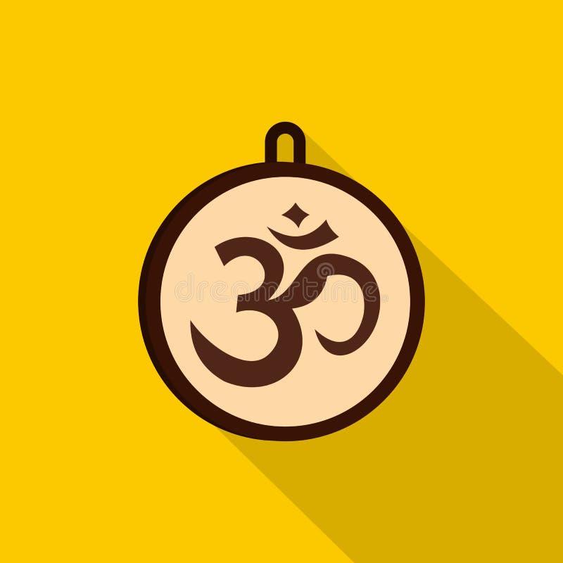 Hindoes om symboolpictogram, vlakke stijl stock illustratie