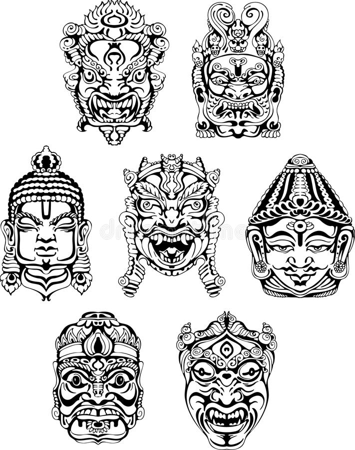 Hindoese deity maskers stock illustratie