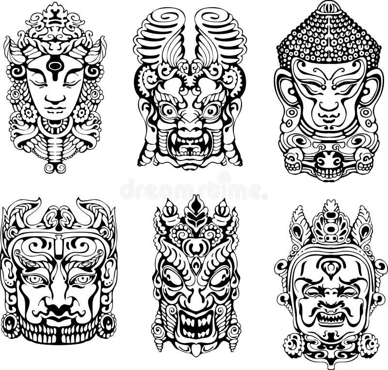 Hindoese deity maskers stock illustratie