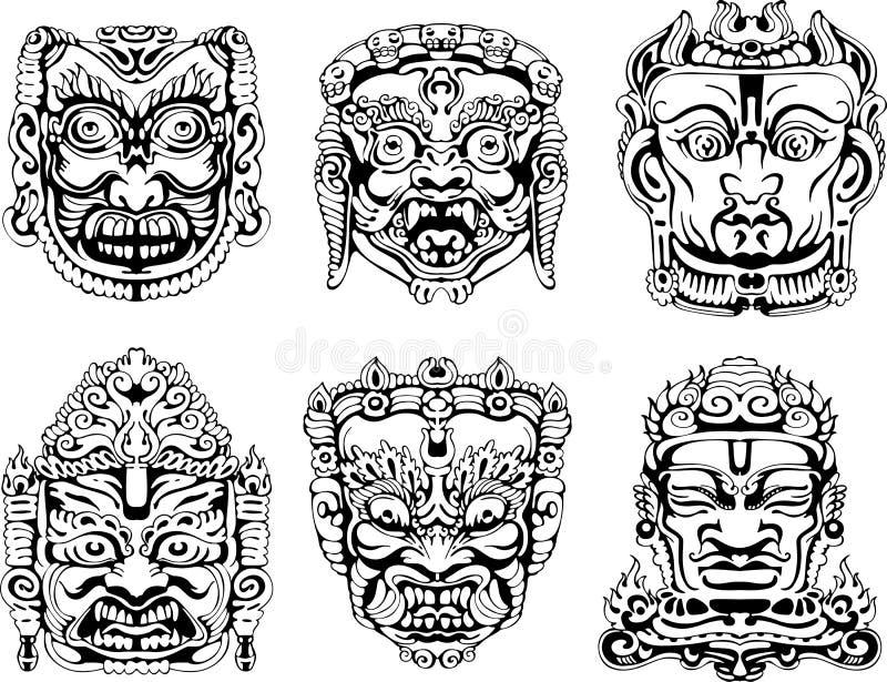 Hindoese deity maskers royalty-vrije illustratie