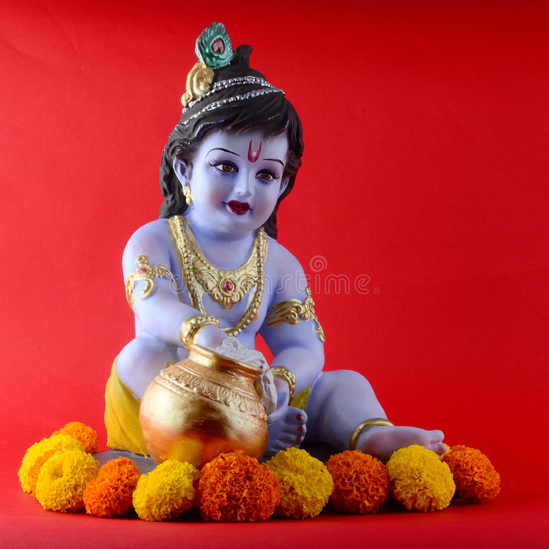 Hindoese God Krishna stock afbeelding