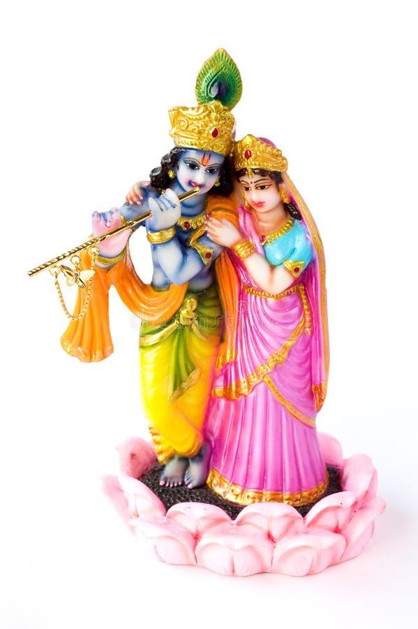 Hindoese God Krishna en Hindoese Godinnen Radha royalty-vrije stock foto's
