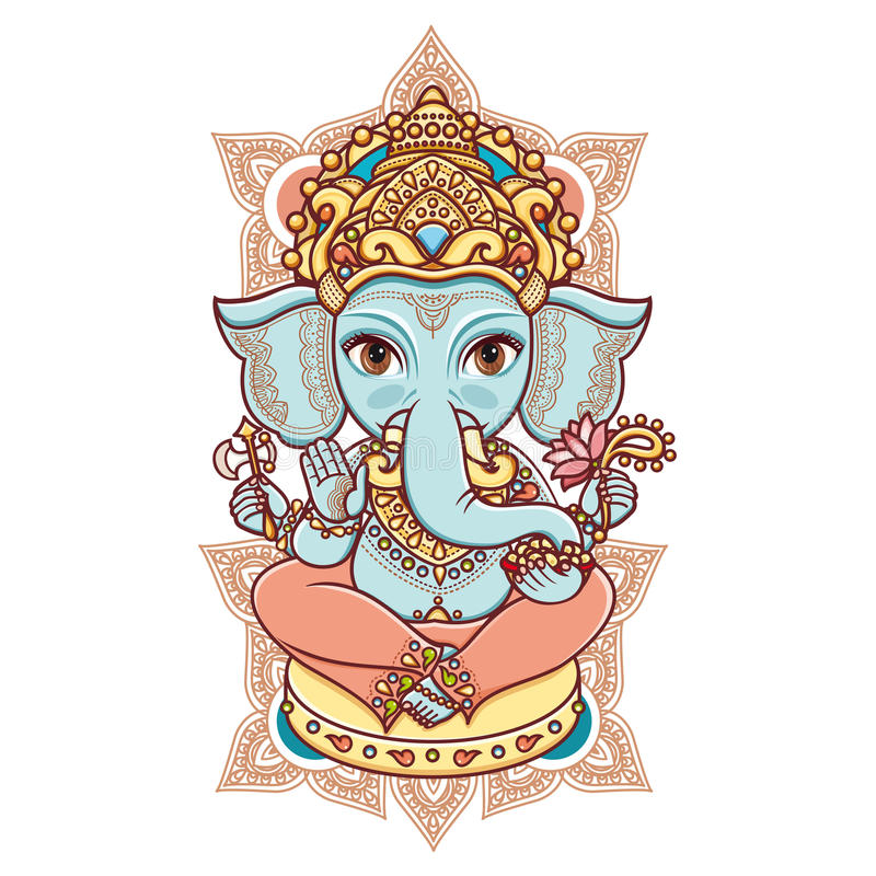 Hindoese olifants hoofdgod Lord Ganesh stock illustratie