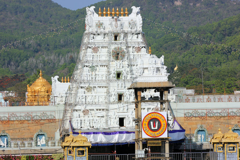 Hindoese Tempel voor Lord Balaji, Tirupati, Andhra Pradesh, India stock afbeeldingen